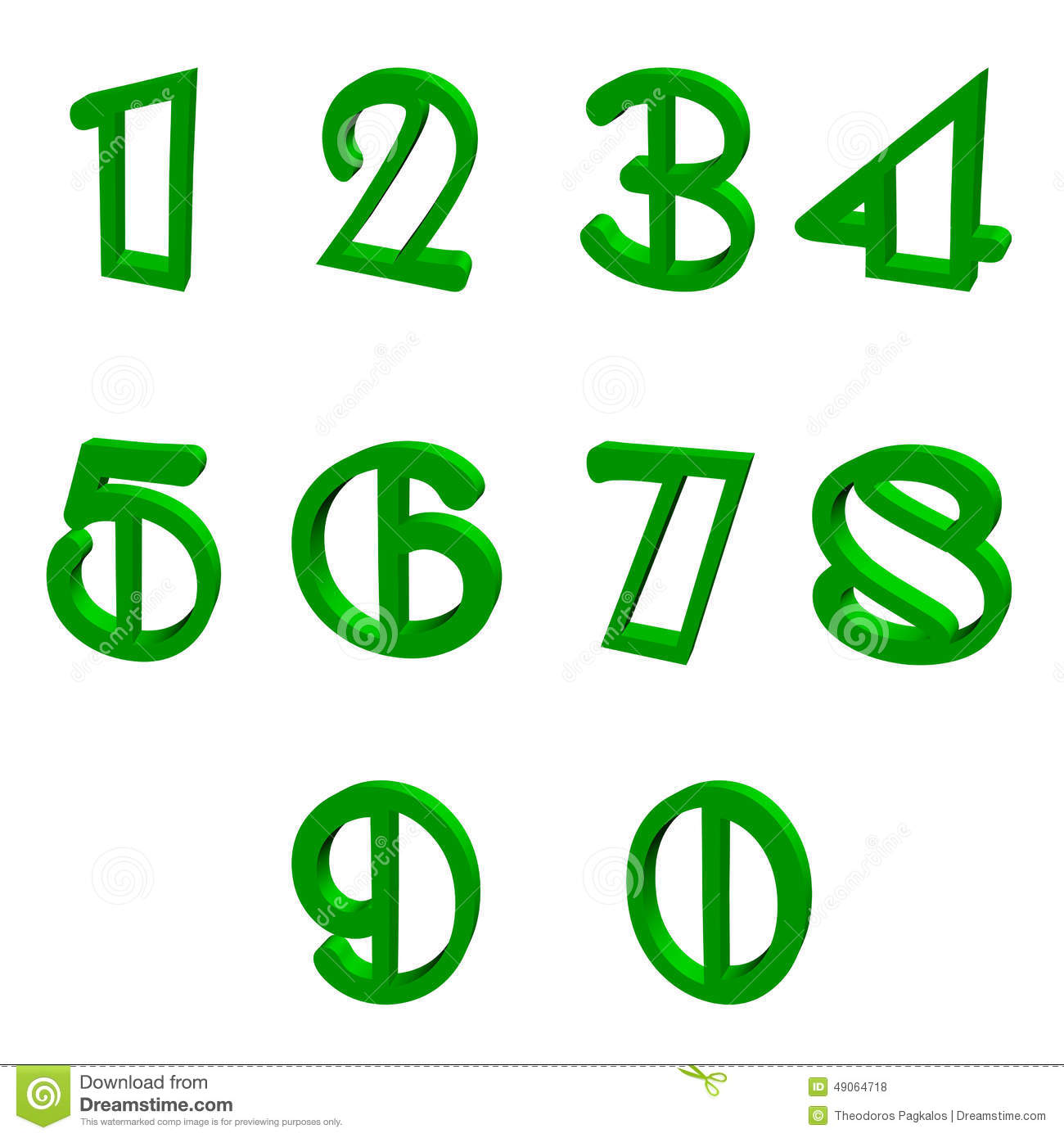 Green numbers stock illustration. Illustration of five - 49064718