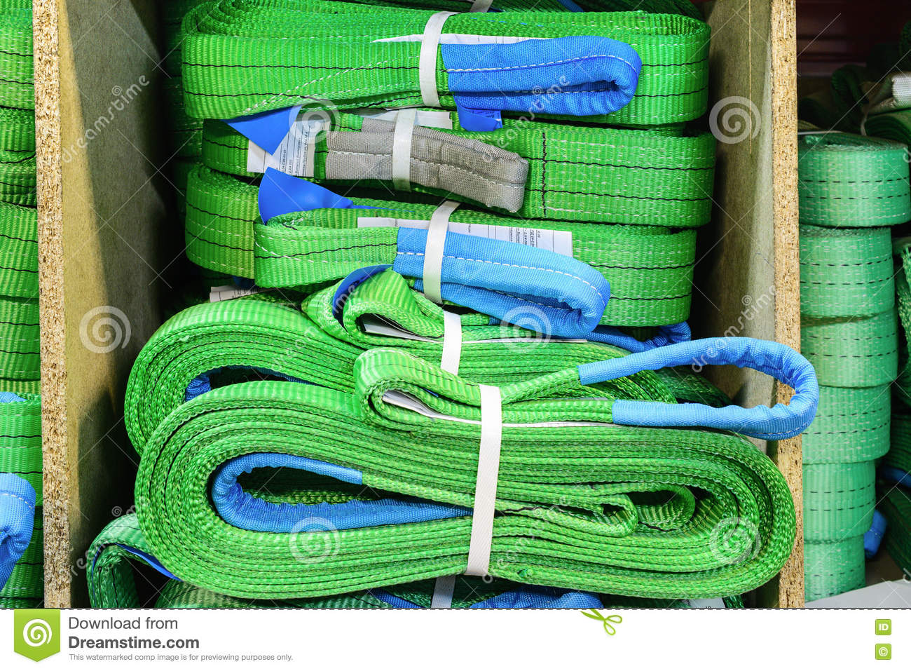 Green Nylon Soft Lifting Slings Stacked In Piles  Stock Image