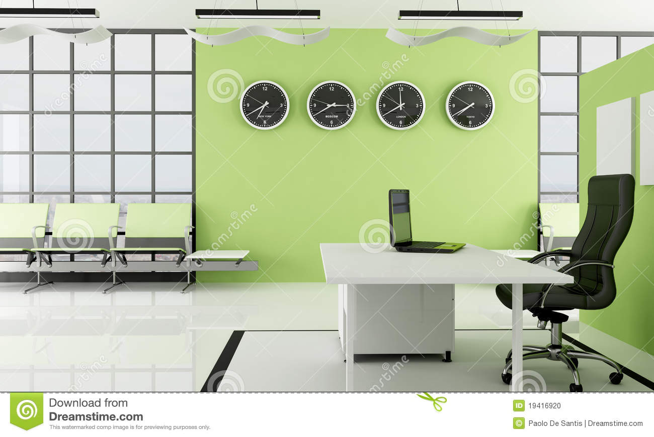 Green Office With Waiting Space Stock Illustration Image
