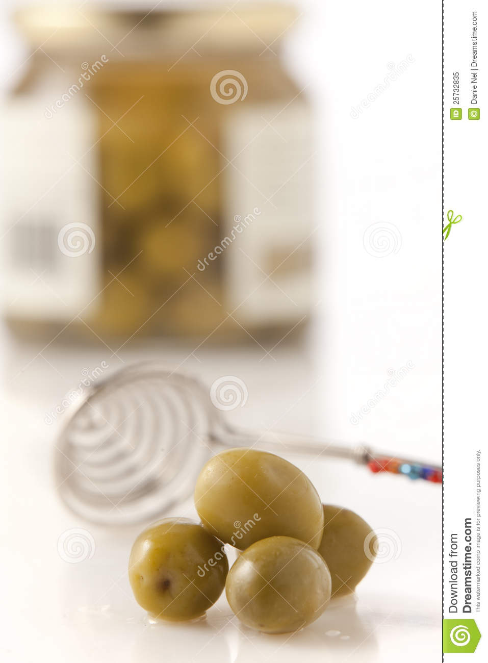 Green olives from a jar