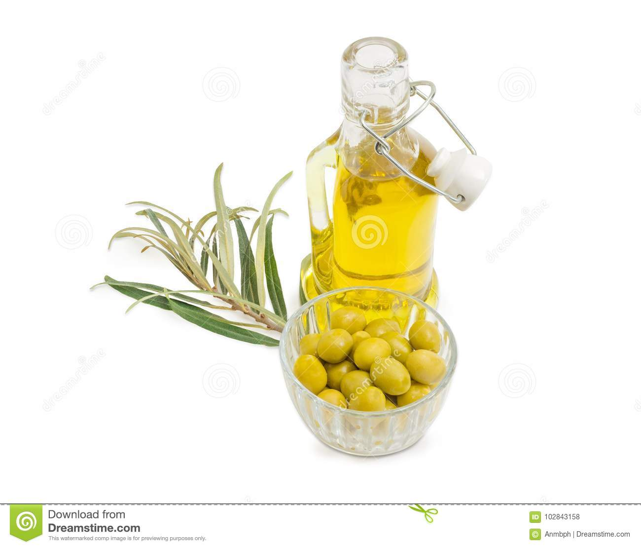 Green Olives, Olive Oil And Olive Branch Stock Photo - Image