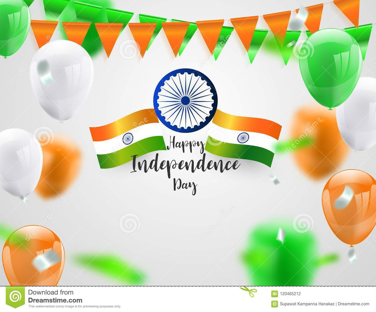 Green Orange balloons, confetti concept design Independence Day India Graphics. greeting background. Celebration Vector illustrat