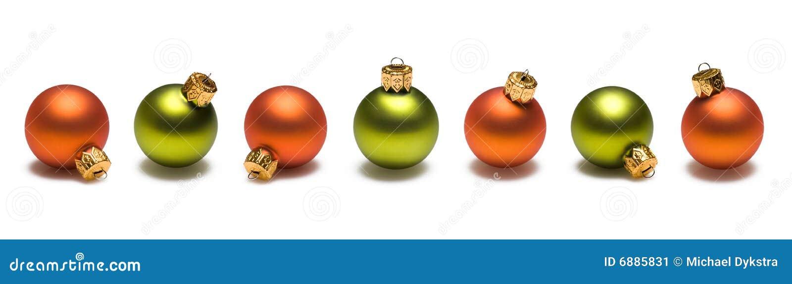 Green And Orange Christmas Balls Border Stock Image ...