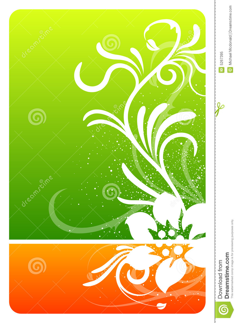 Green And Orange Floral Design Card Stock Vector