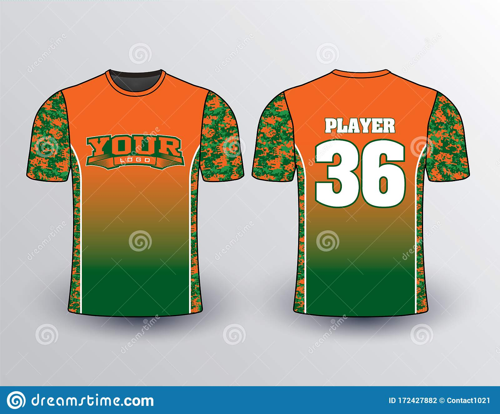 Green Orange Gradient And Camo Filled Shirt Stock Vector ...