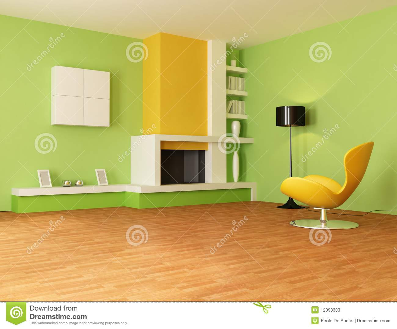 Green and yellow living room - Green And Orange Living Room Stock Photos