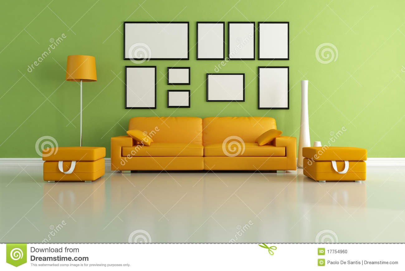 Green And Orange Living Room Stock Illustration - Illustration of ...