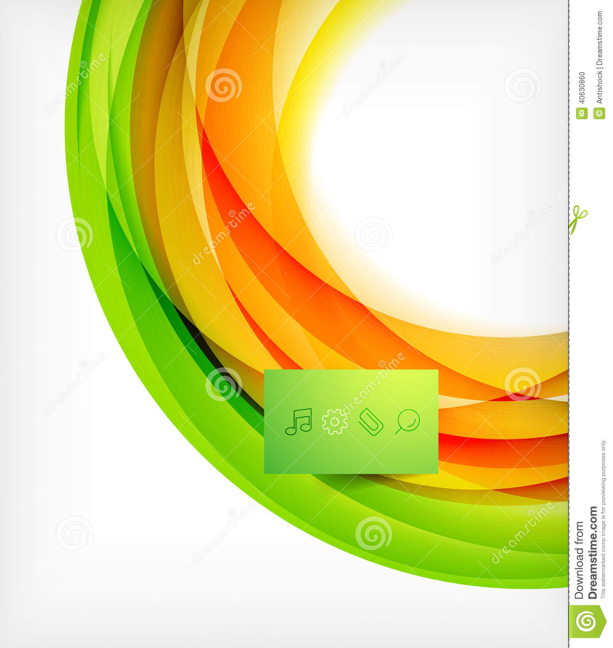 Green And Orange Wave Abstract Background Stock Vector