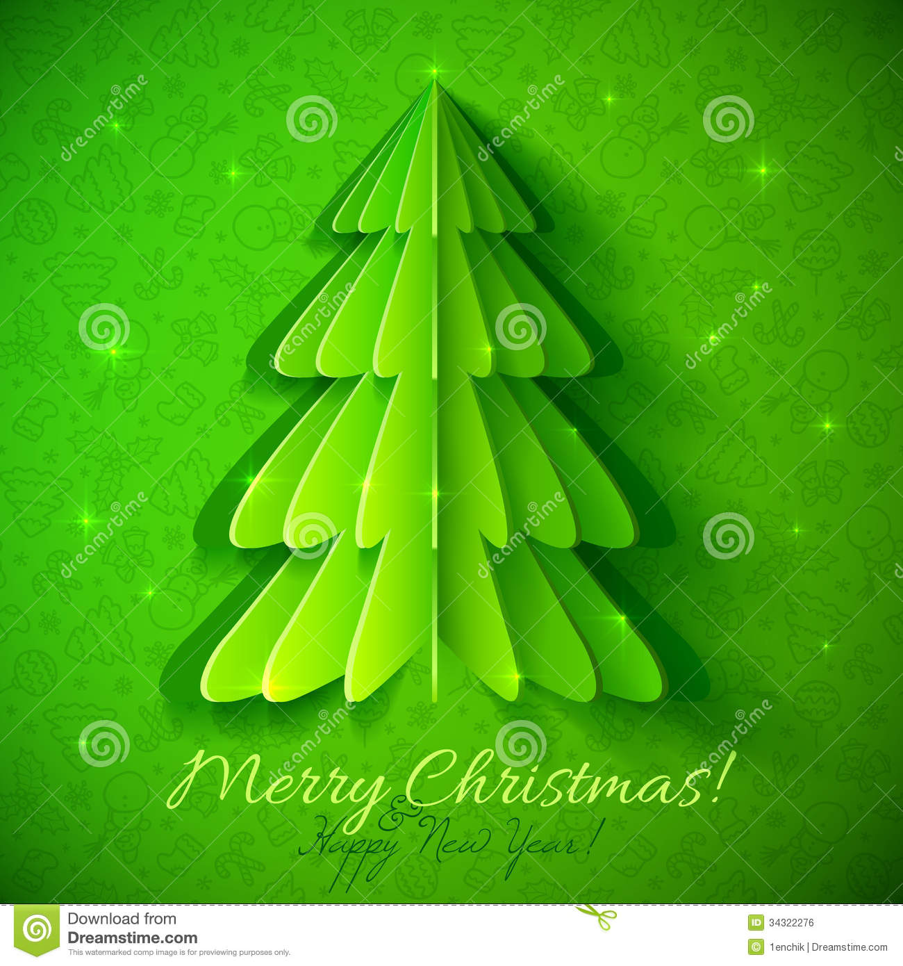 Green Origami Christmas Tree Greeting Card Stock Vector