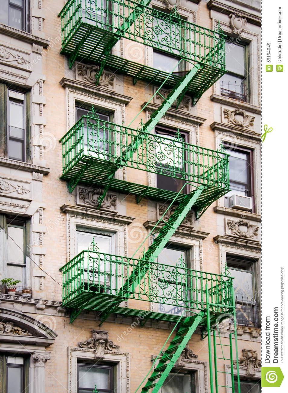 Green Outside Metal Fire Escape Stairs, New York