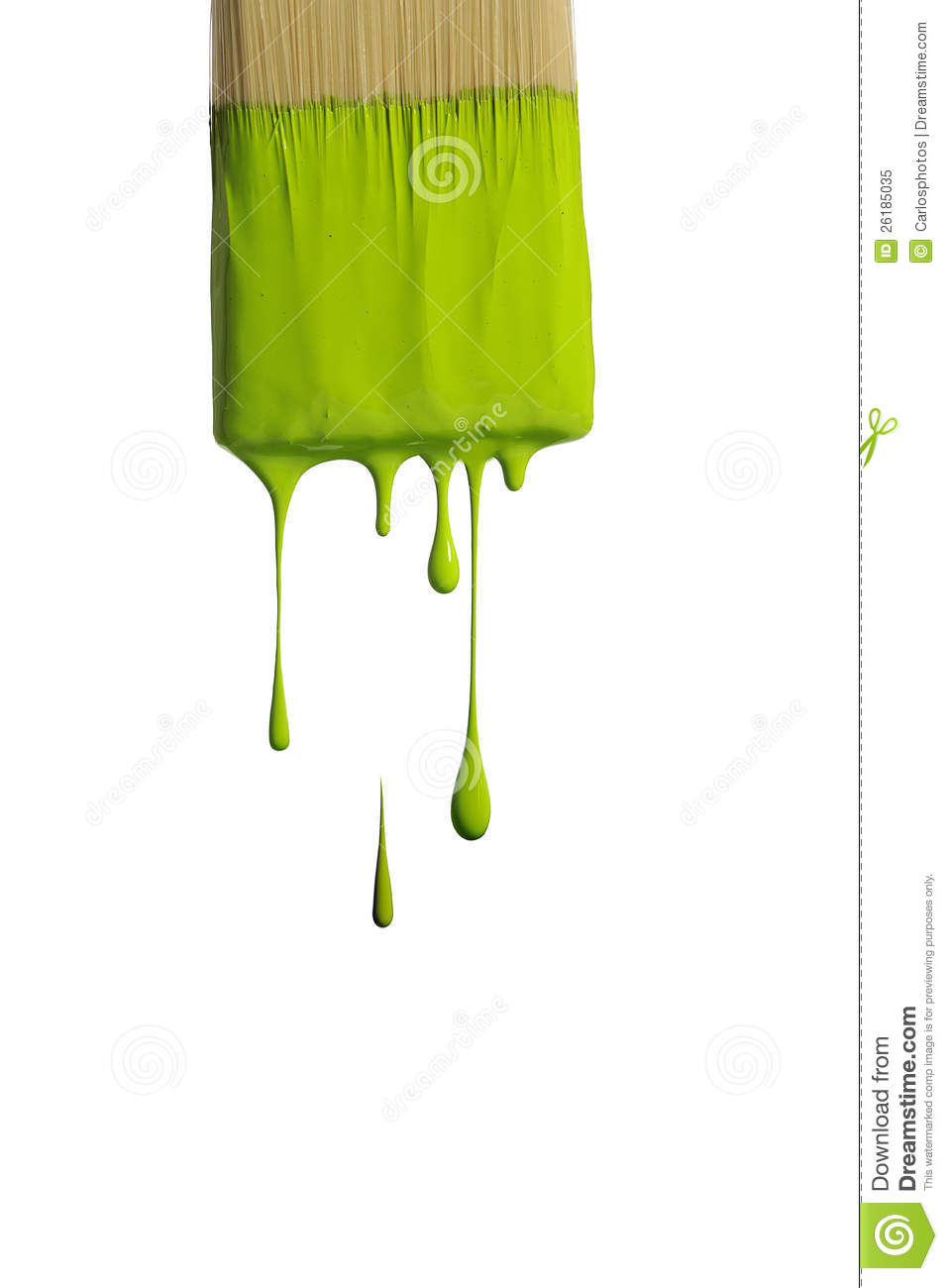 Green Paint Dripping From A Brush Stock Image Image Of