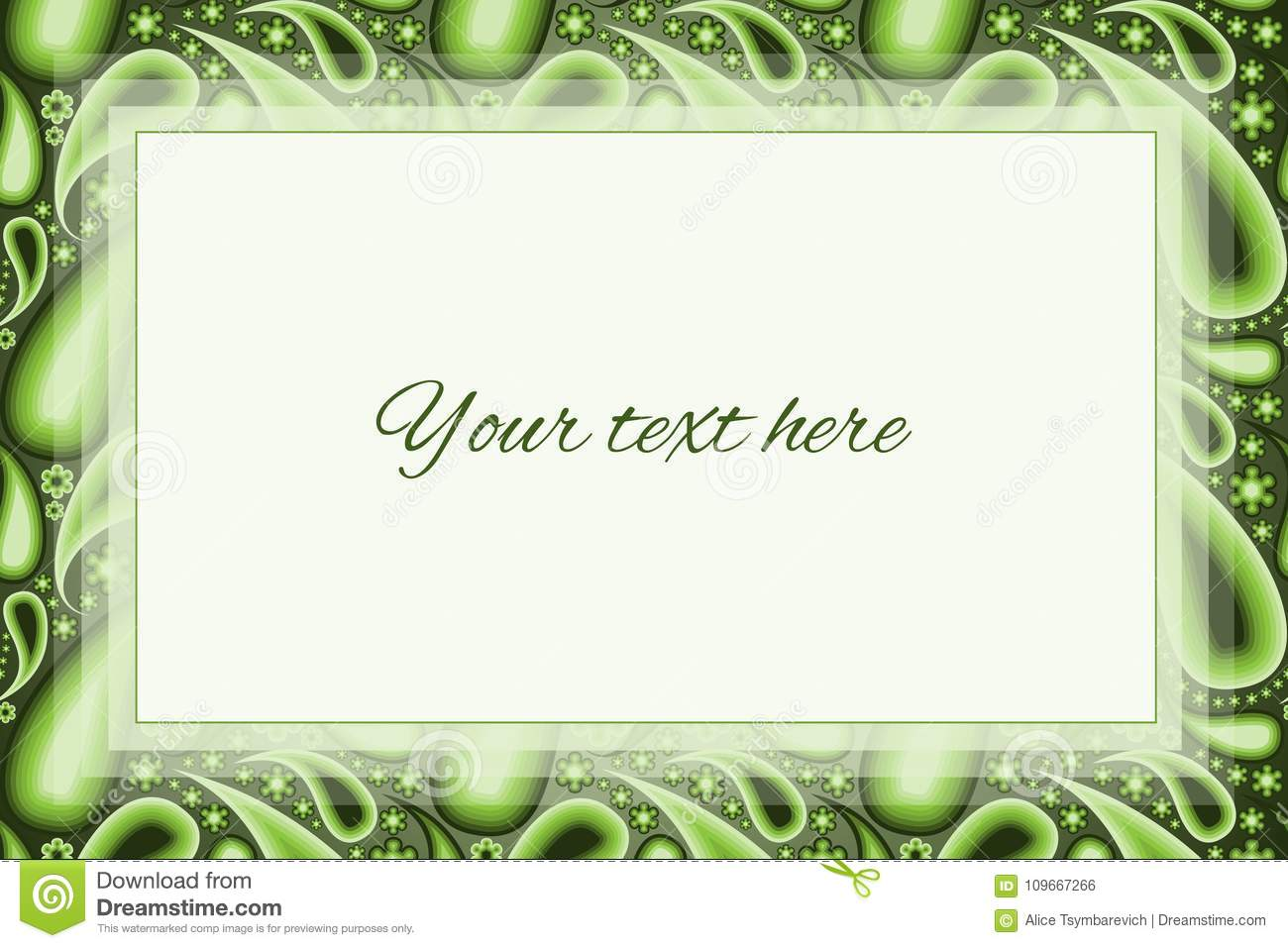 Green paisley background with a large text box stock illustration download green paisley background with a large text box stock illustration illustration of pretty stopboris Images