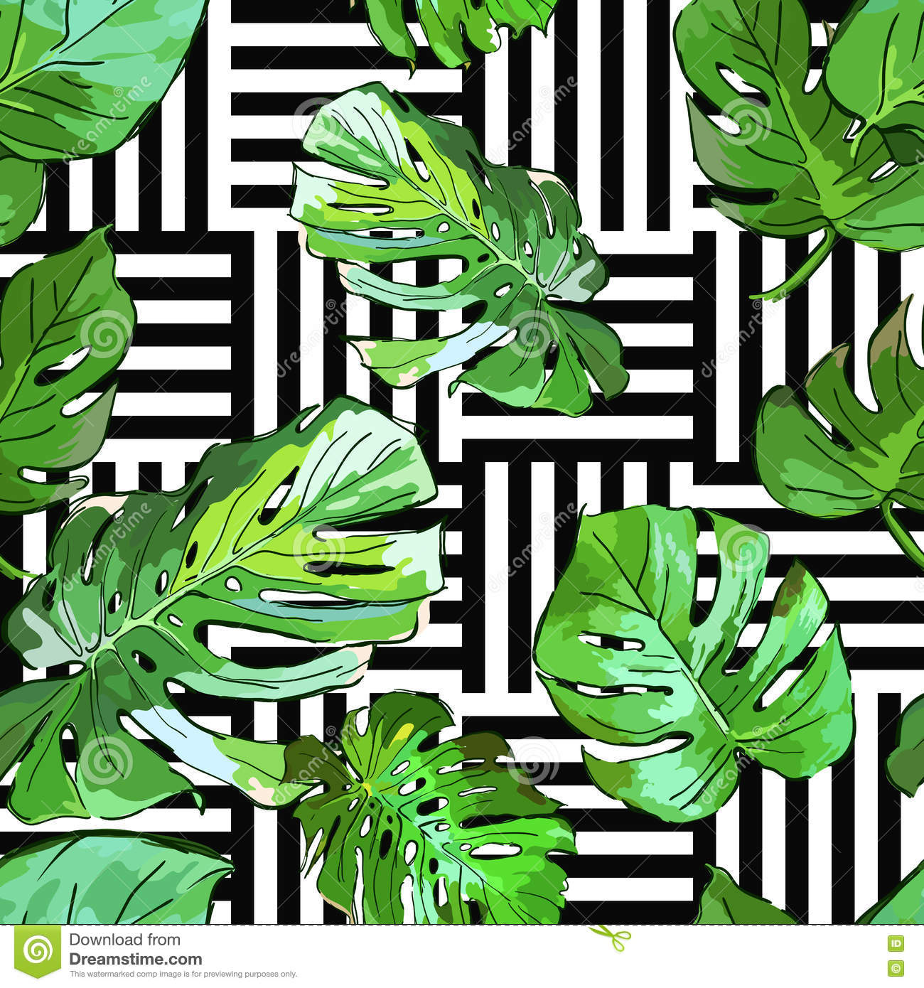 Green Palm Tree Leaves On Black And White Geometric Background Vector Summer Seamless Pattern