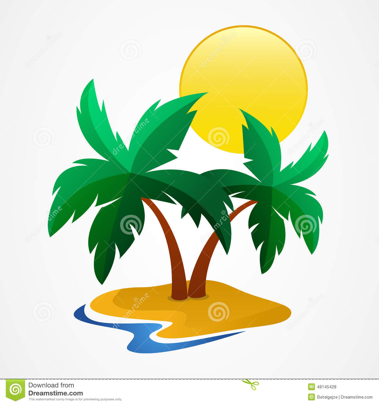green palm tree on the tropical island vector summer vacation clip art with quote summer vacation clip art free
