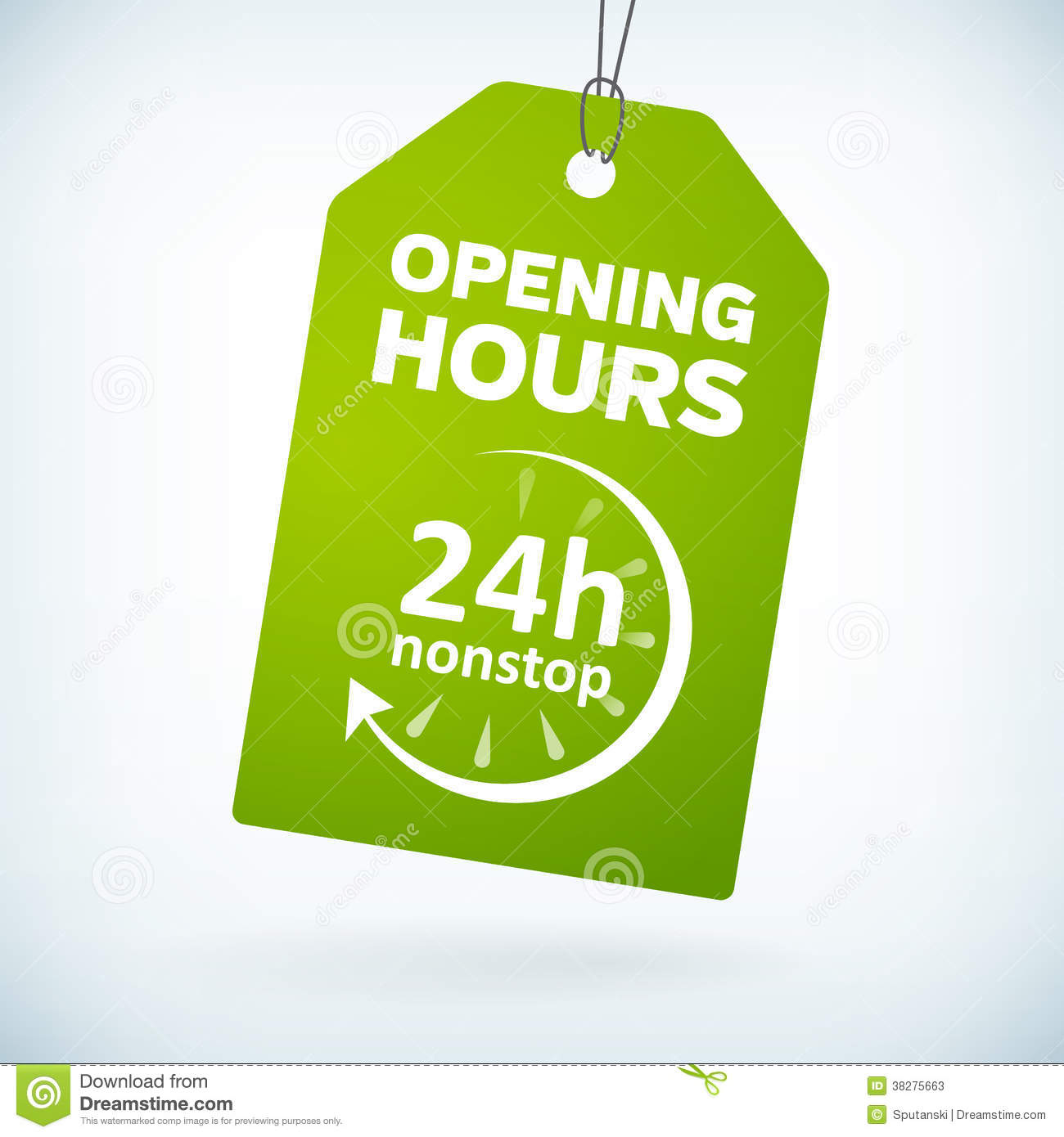 green leather 24 hour nonstop open bookmark label stock photo green paper 24h nonstop opening hours tag stock photos