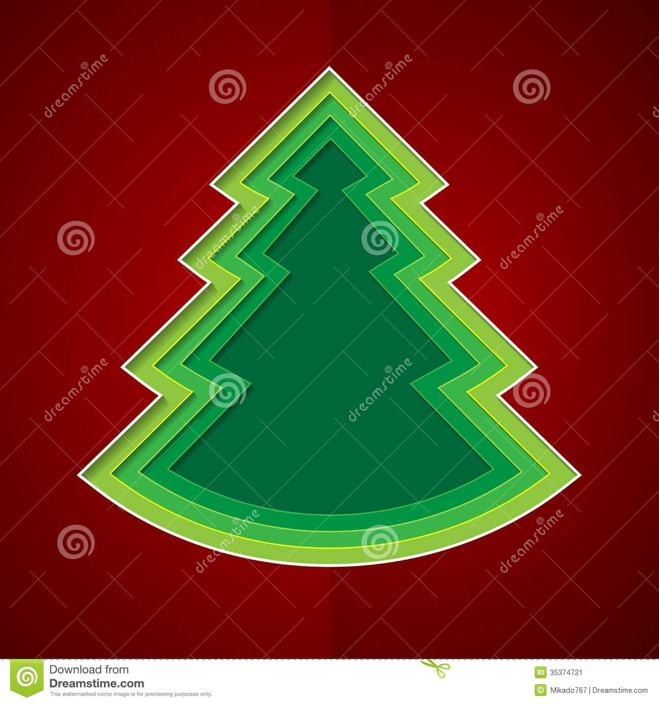 green paper christmas tree on red background stock vector