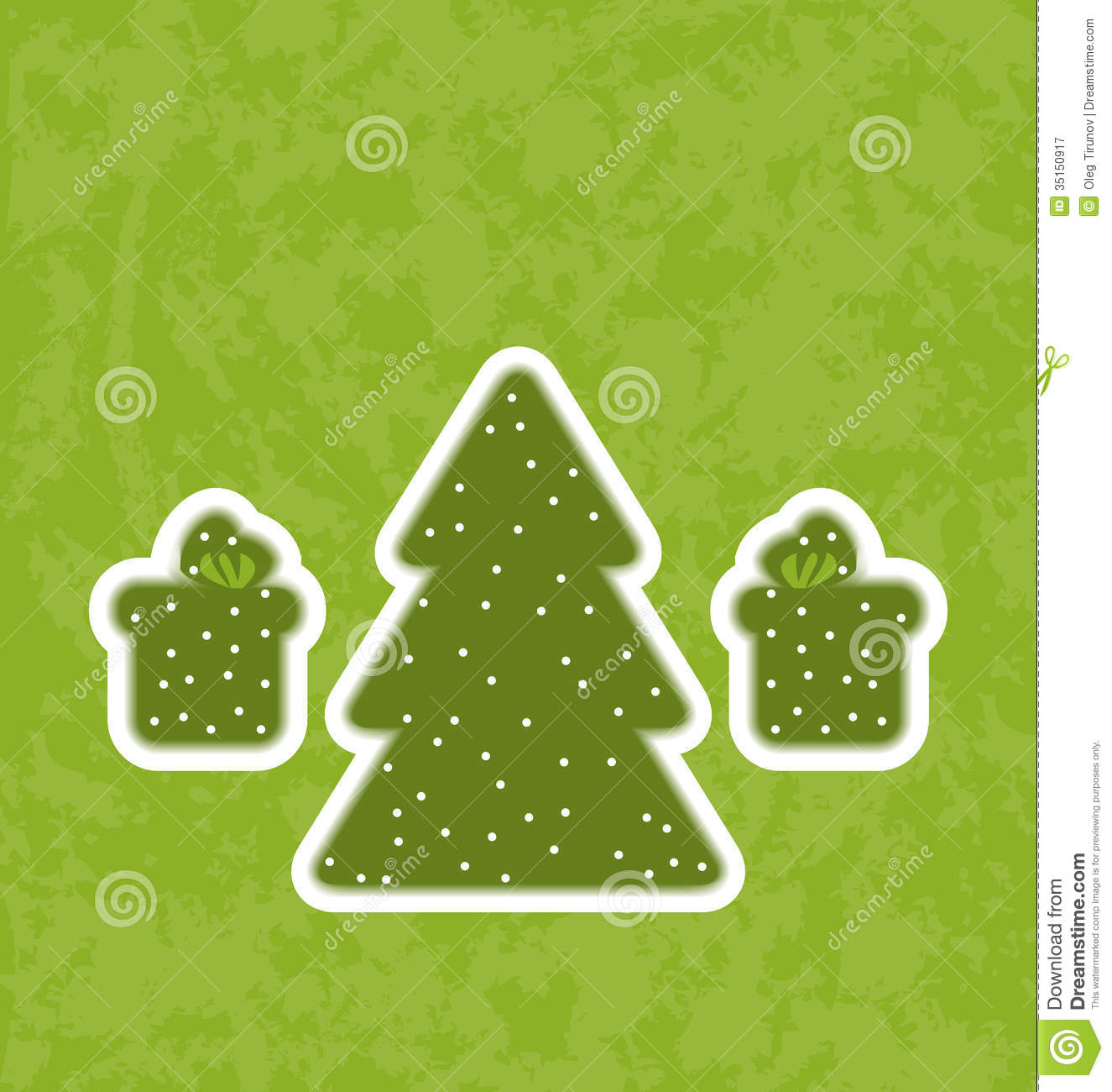 Christmas Tree Made Out Of Paper: Green Paper Cut-out Christmas Tree And Gifts Stock Vector