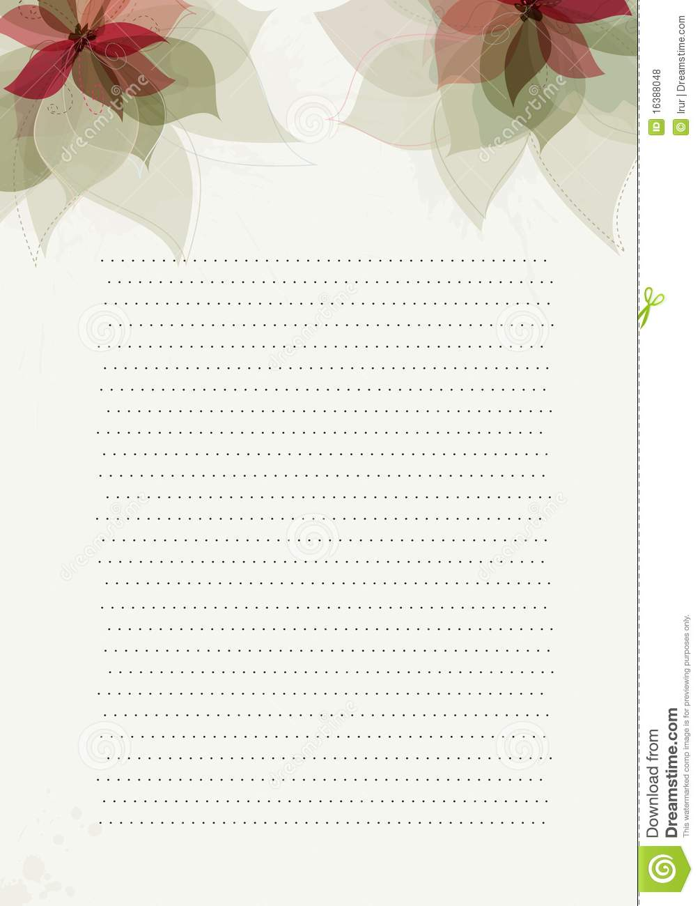 green paper design template with flowers stock vector illustration