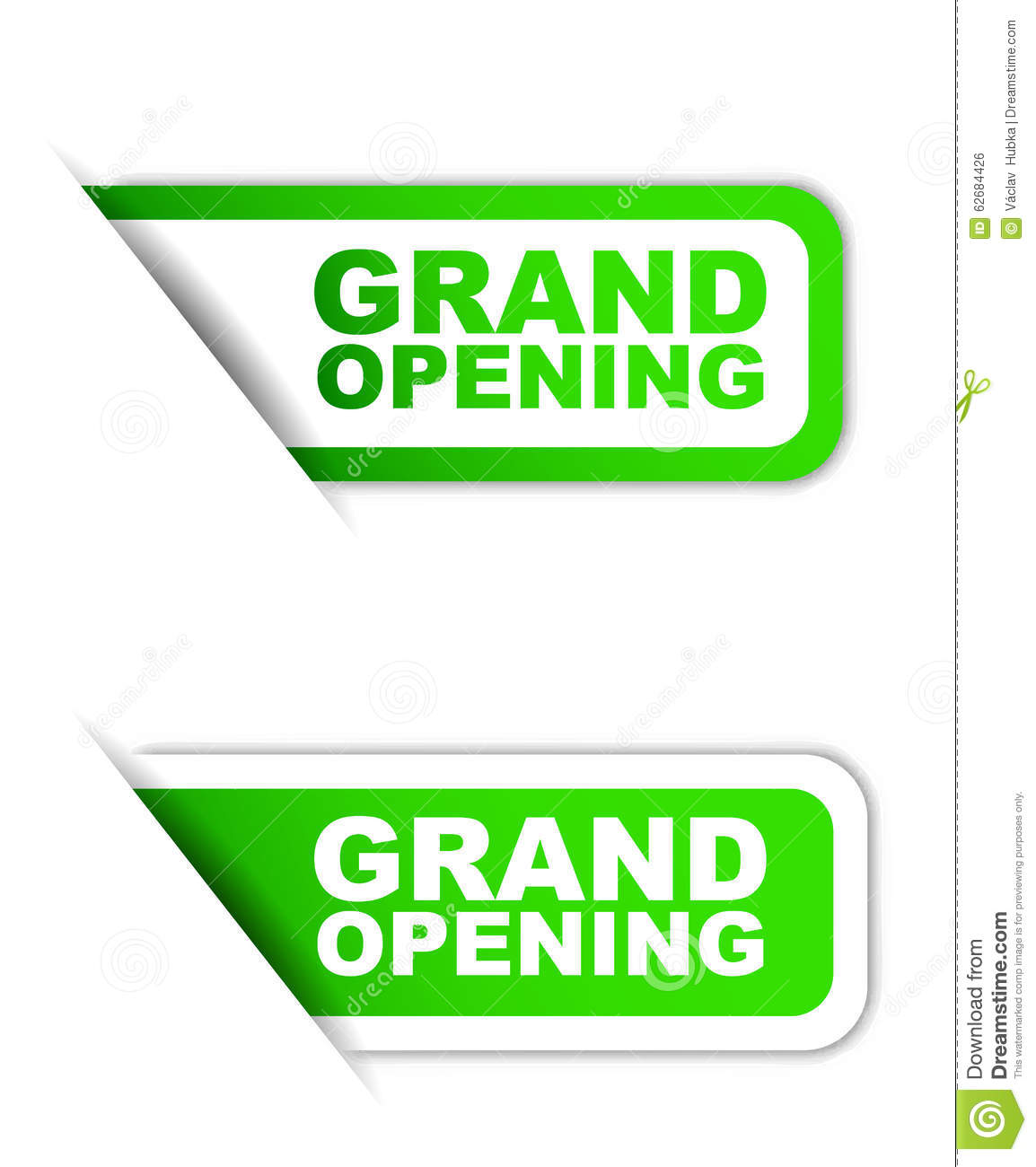 Green Paper Element Sticker Grand Opening In Two Variant ...