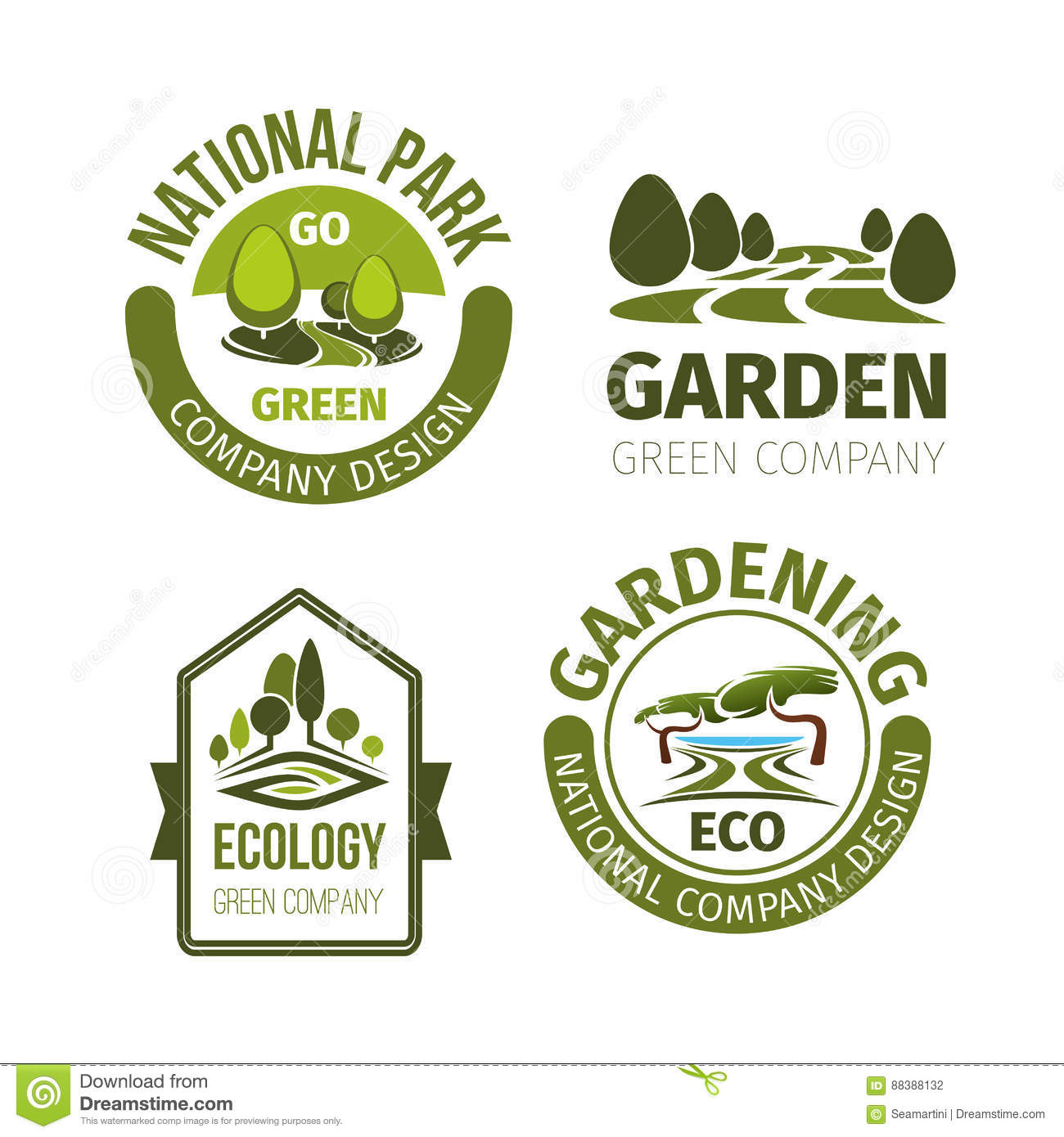 Green park or garden design vector icons stock vector for Landscape design icons