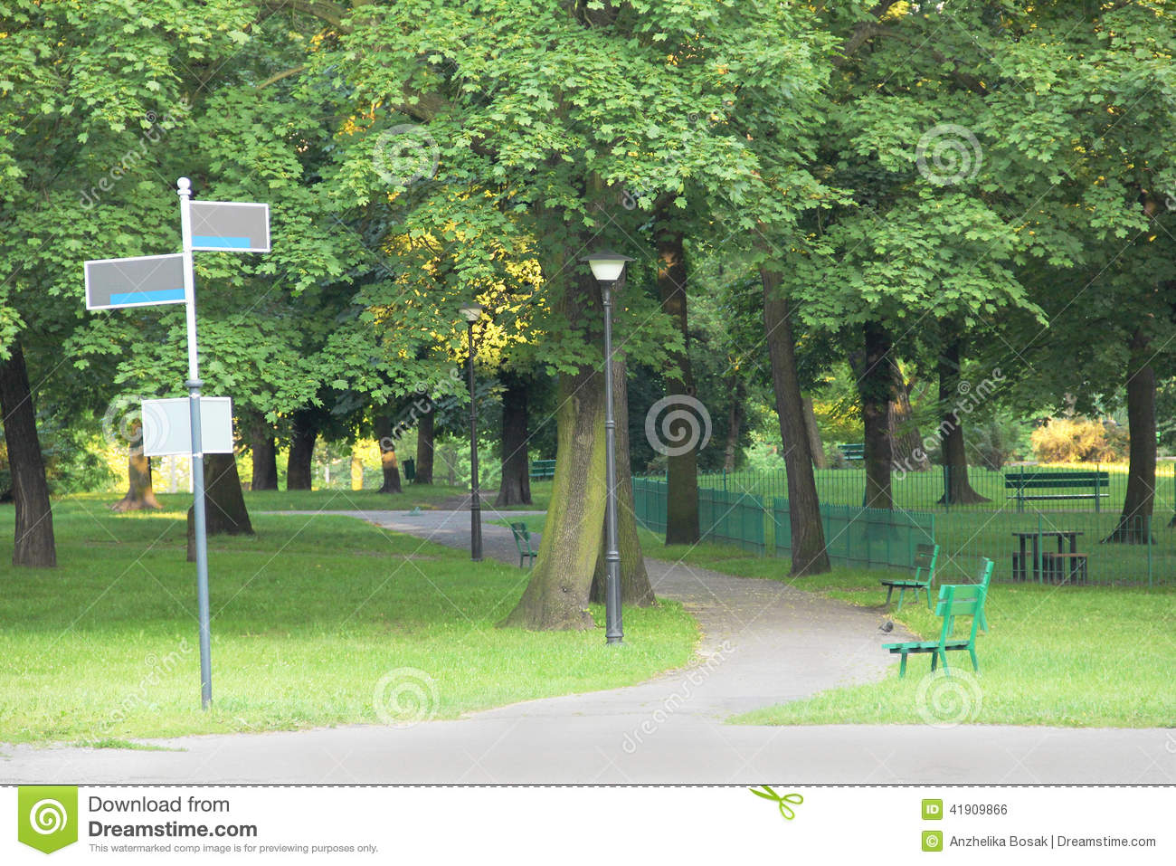 Green park with guidepost