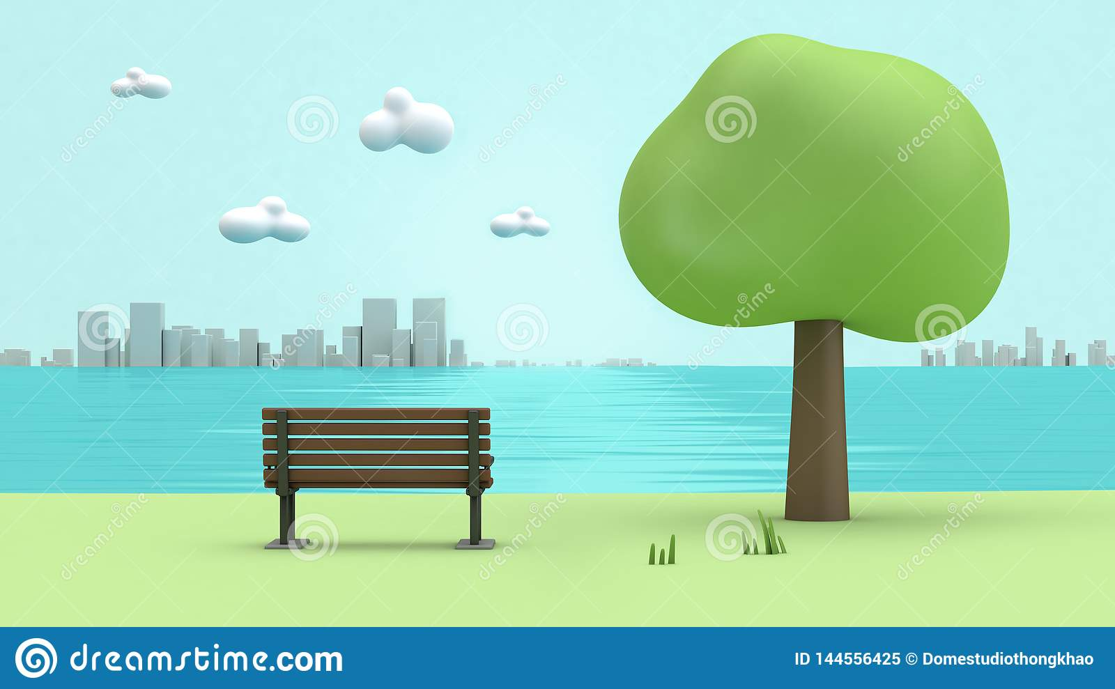 Green parks river side chair,trees,city cartoon style low poly 3d render