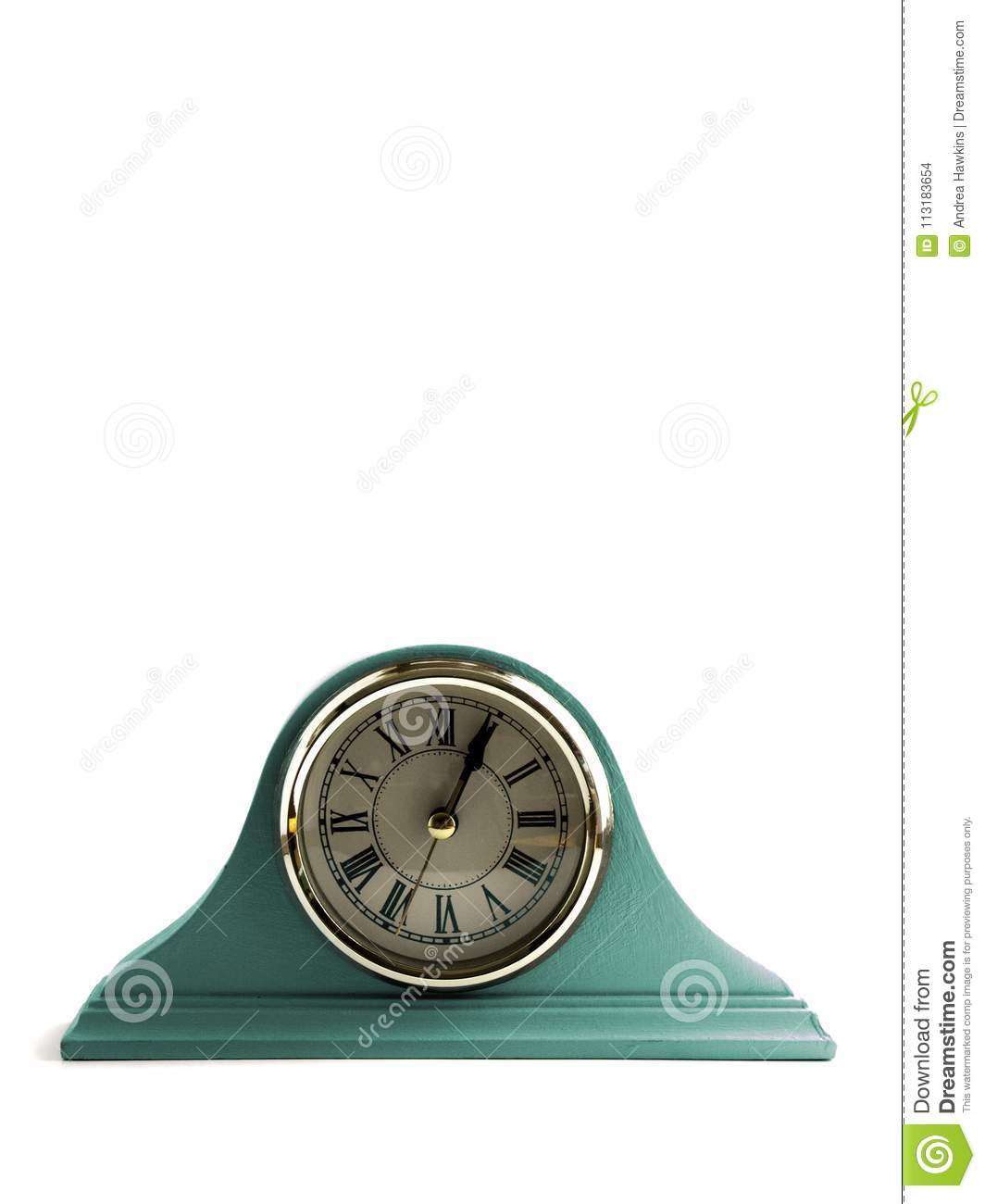 Green Pastel Mantle Clock With White Background Stock ...