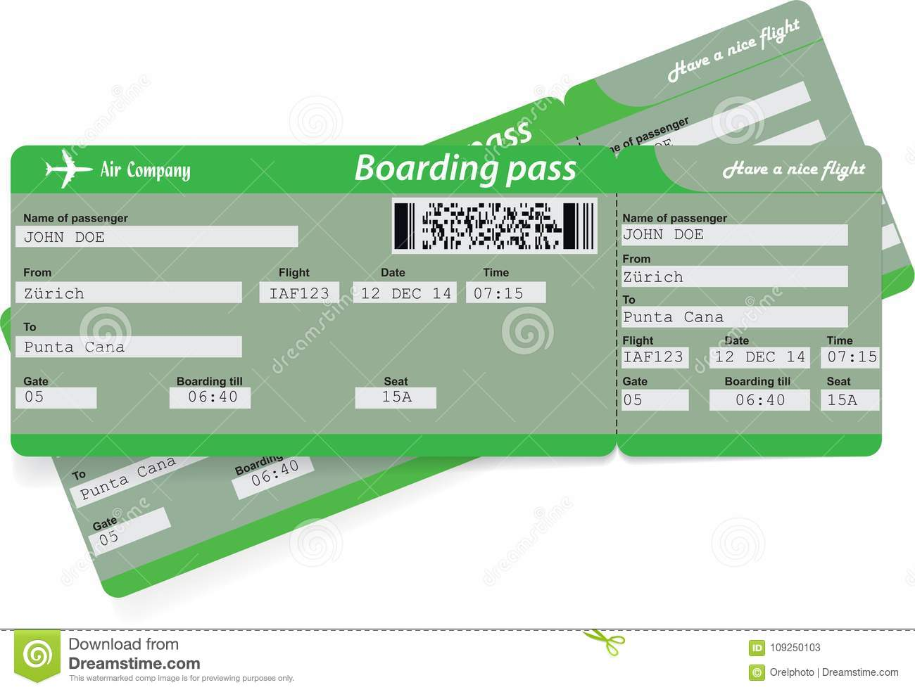 Green Pattern Of Two Airline Boarding Pass Tickets Stock Vector