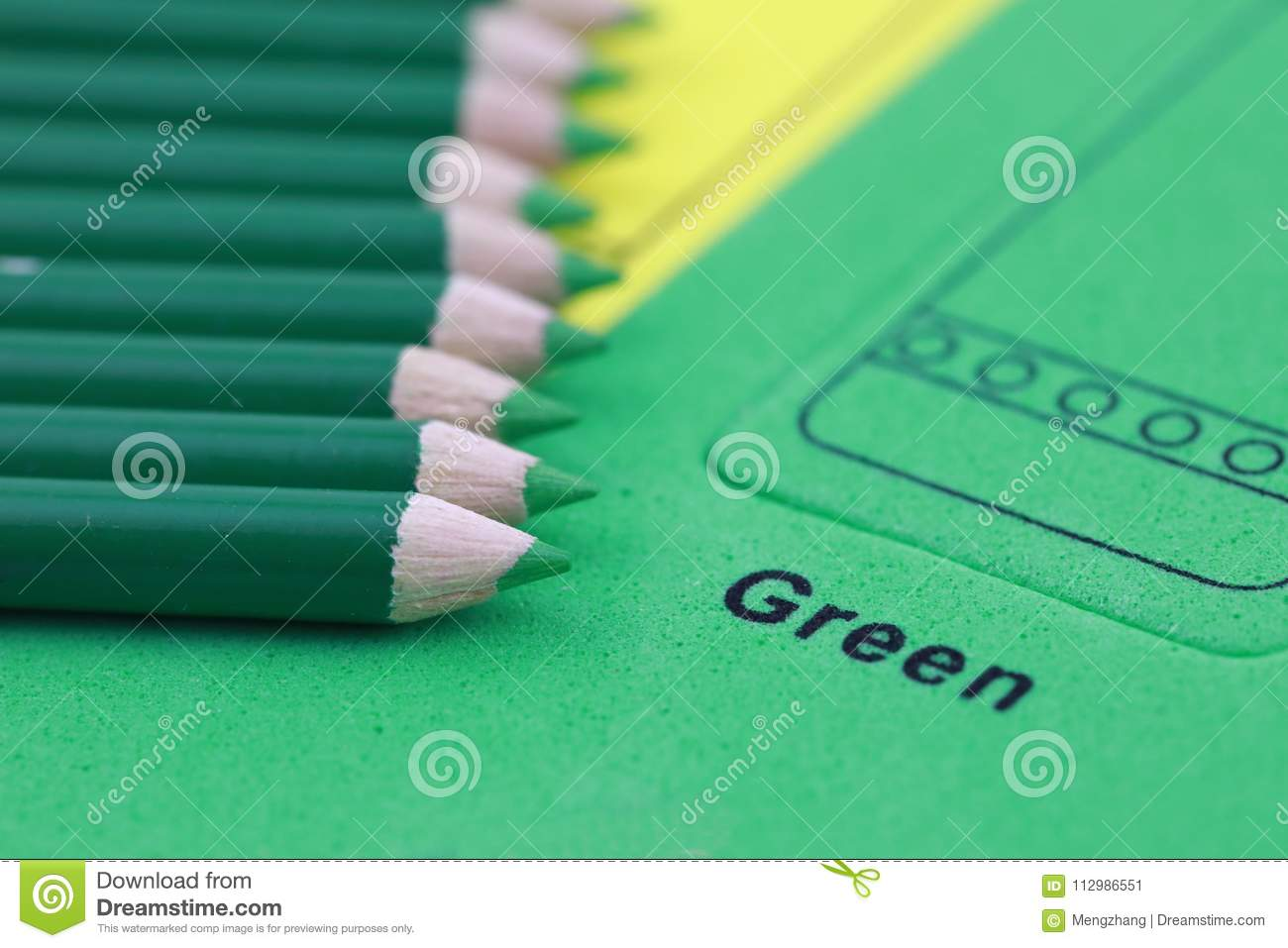 green pencil crayon