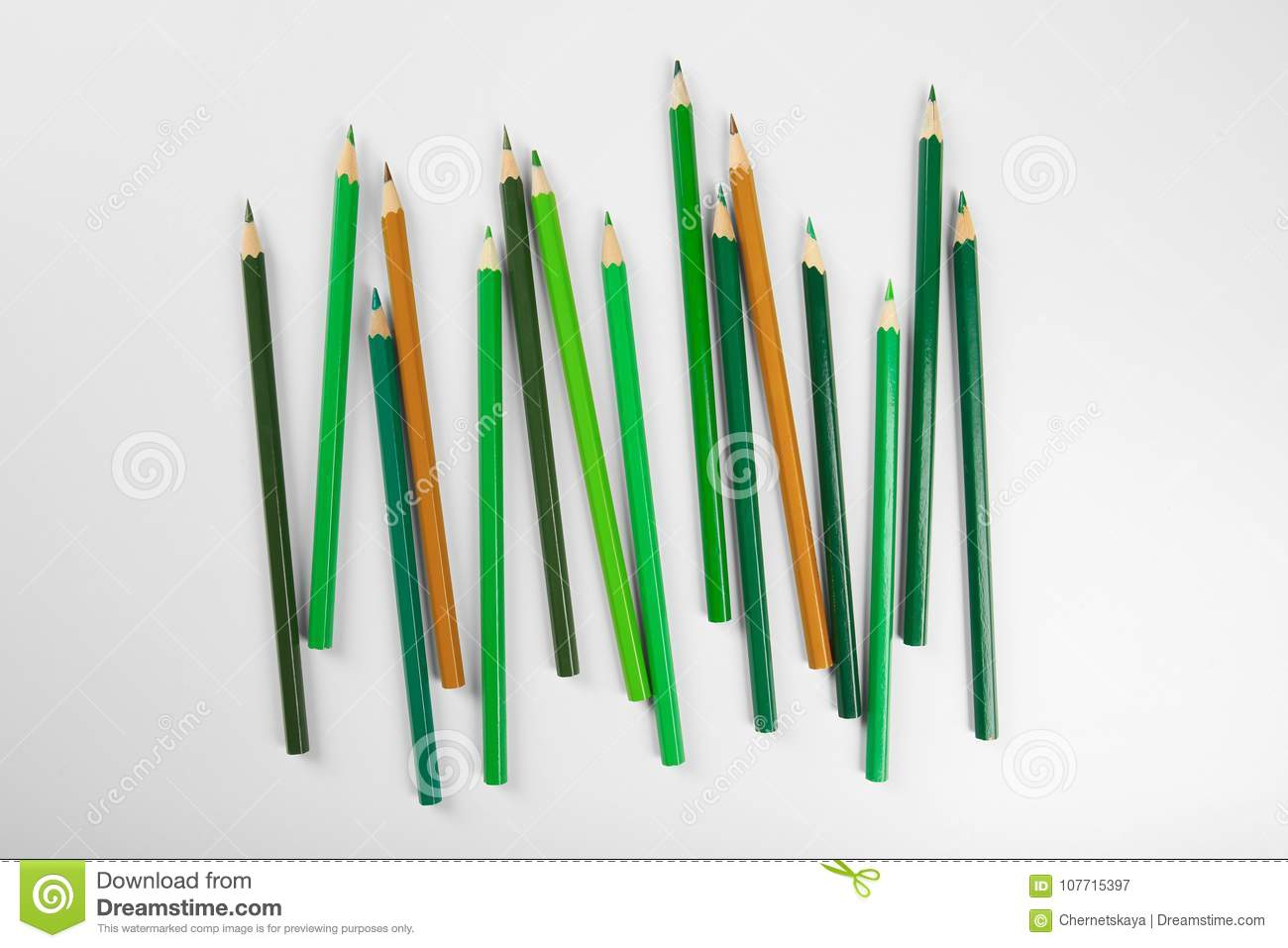 Green pencils of different shades stock image image of greenery