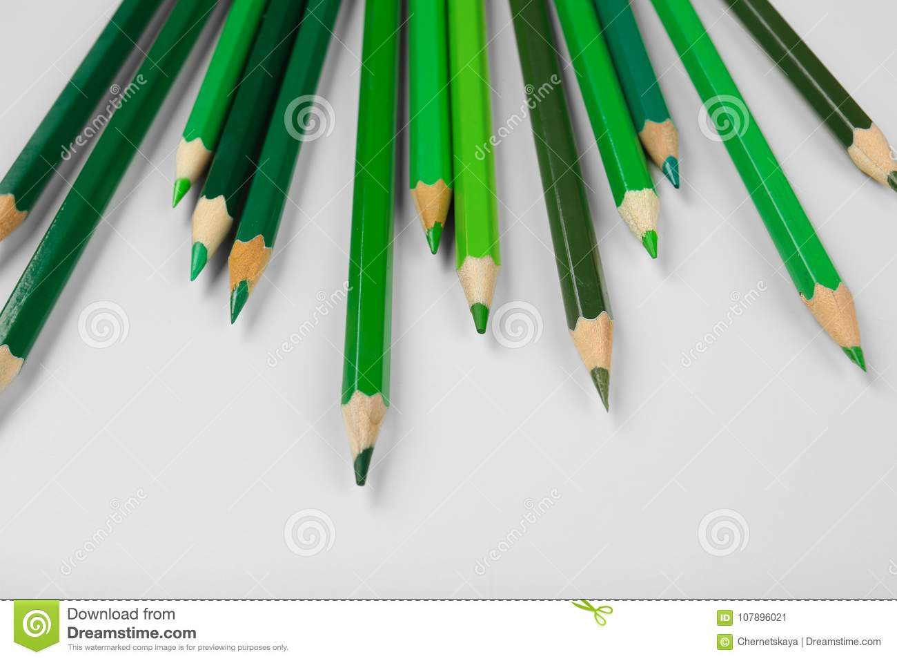 Green pencils of different shades stock image image of hues