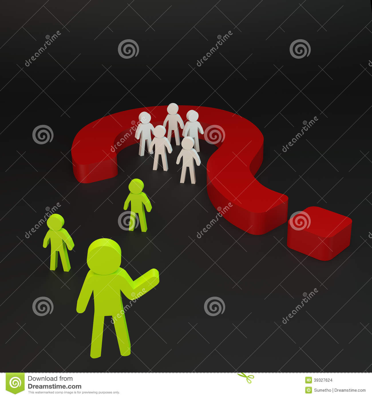 Green person and Group person in red question mark on black background    Question Mark Person Green