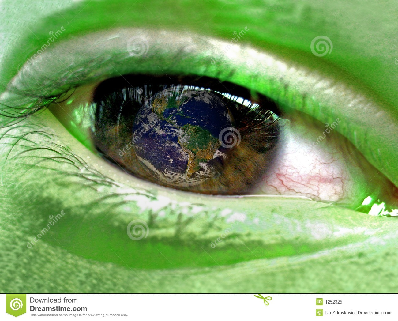 Download Green Person Watching Earth Stock Image - Image of conceptual, ecology: 1252325