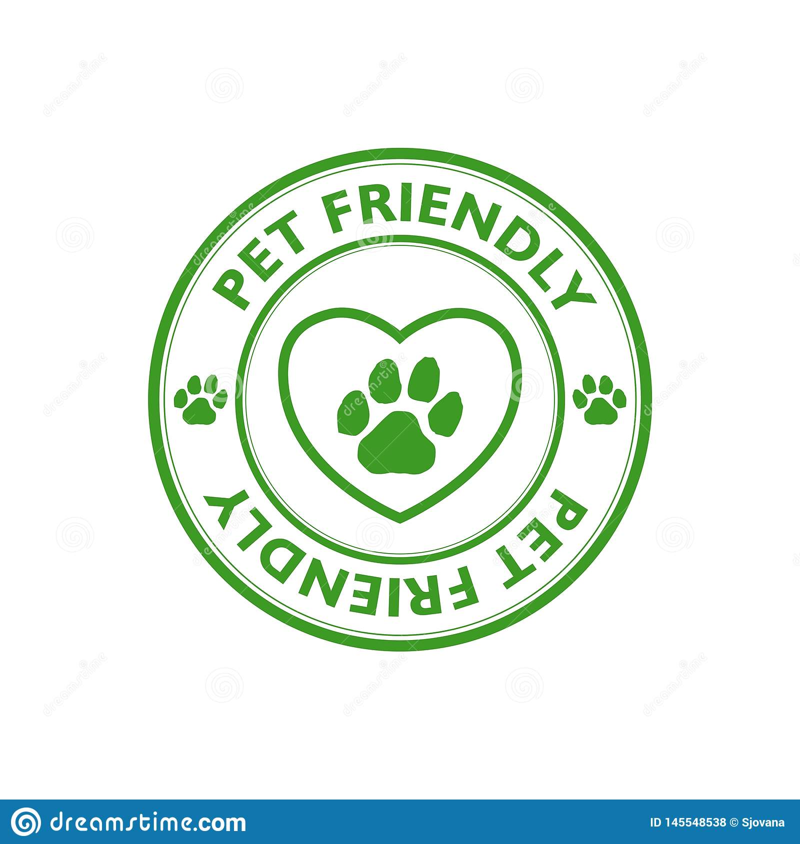Green Pet Friendly Stamp , Sign, Icon Stock Illustration