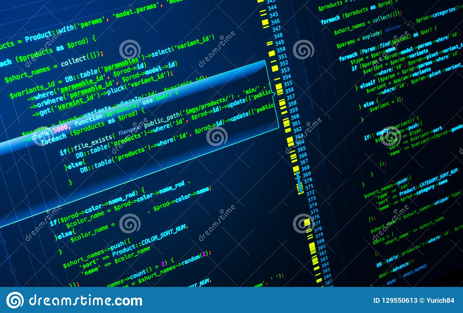Green php code on dark blue background in code editor, macro