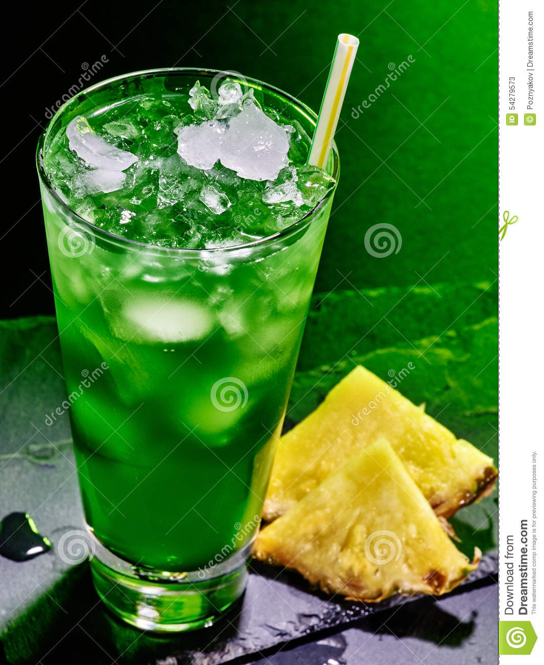 Green Pineapple Cocktail On Dark Background 51 Stock Image