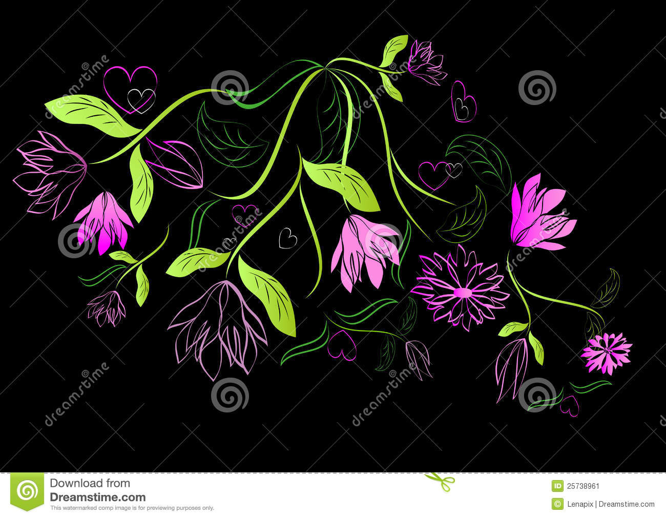 Green and pink floral design