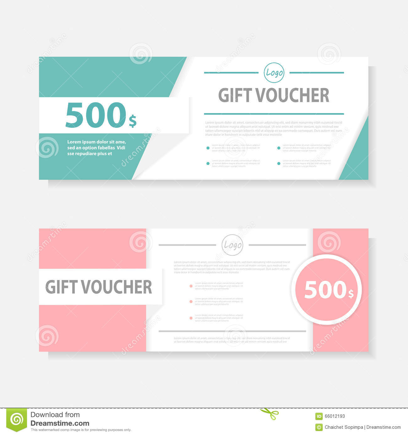 Green Pink Gift Voucher Template With Colorful Pattern,cute Gift Voucher  Certificate Coupon Design Template  Gift Card Certificate Template