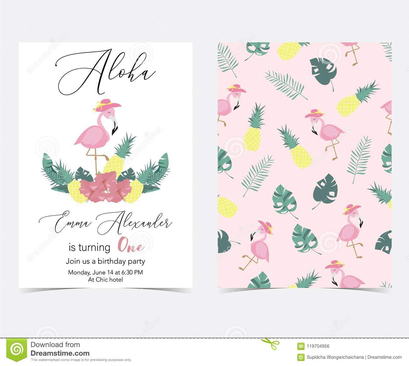 green pink invitation card with palm pineapplehibiscus
