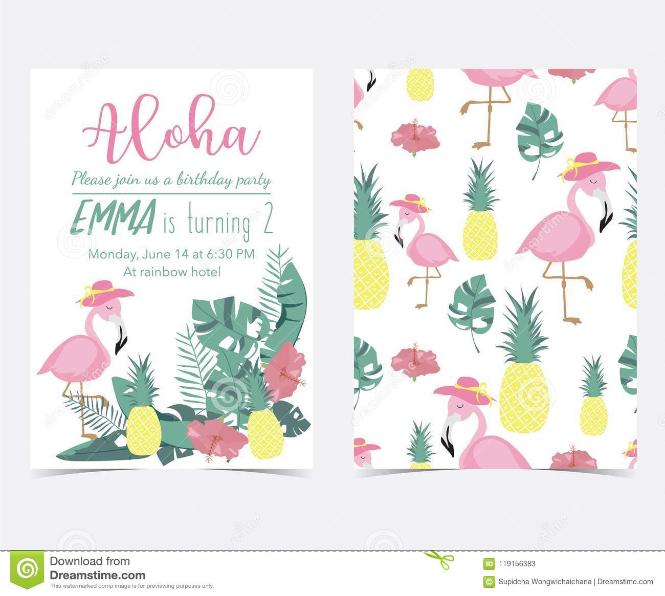 green pink invitation card with plam pineapplehibiscus