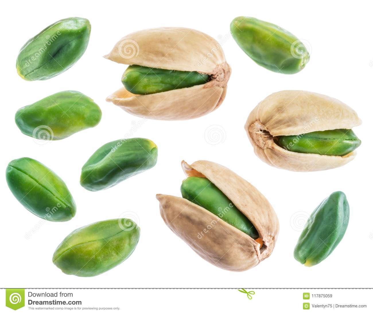 Green pistachio nuts isolated on white.