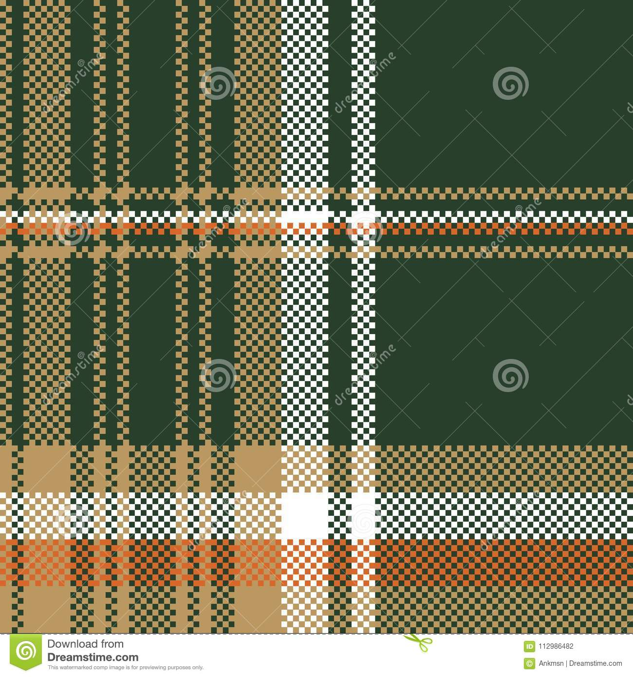 Green pixel plaid fabric seamless pattern