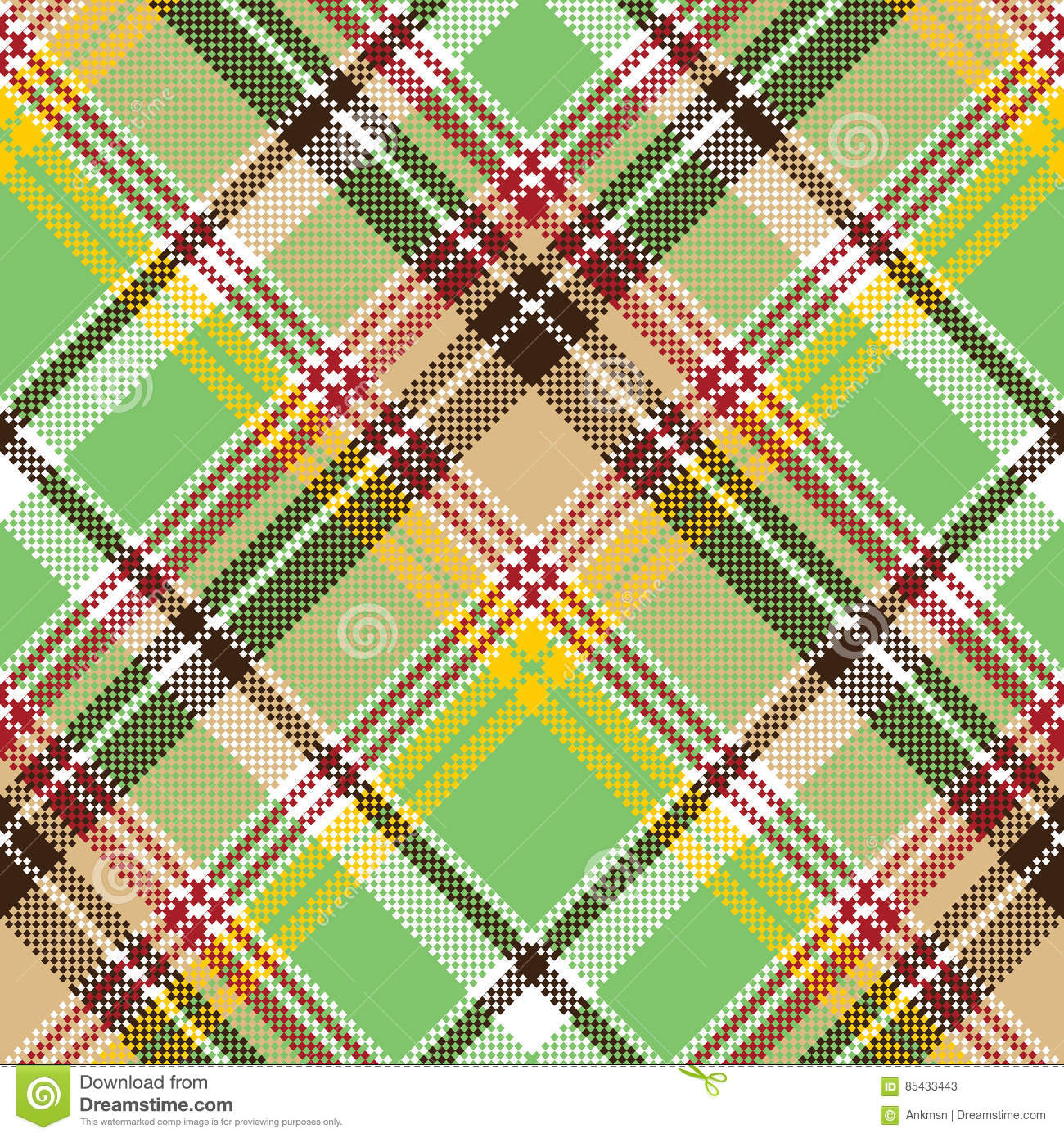 Green Plaid Pixel Texture Madras Color Fabric Seamless ...
