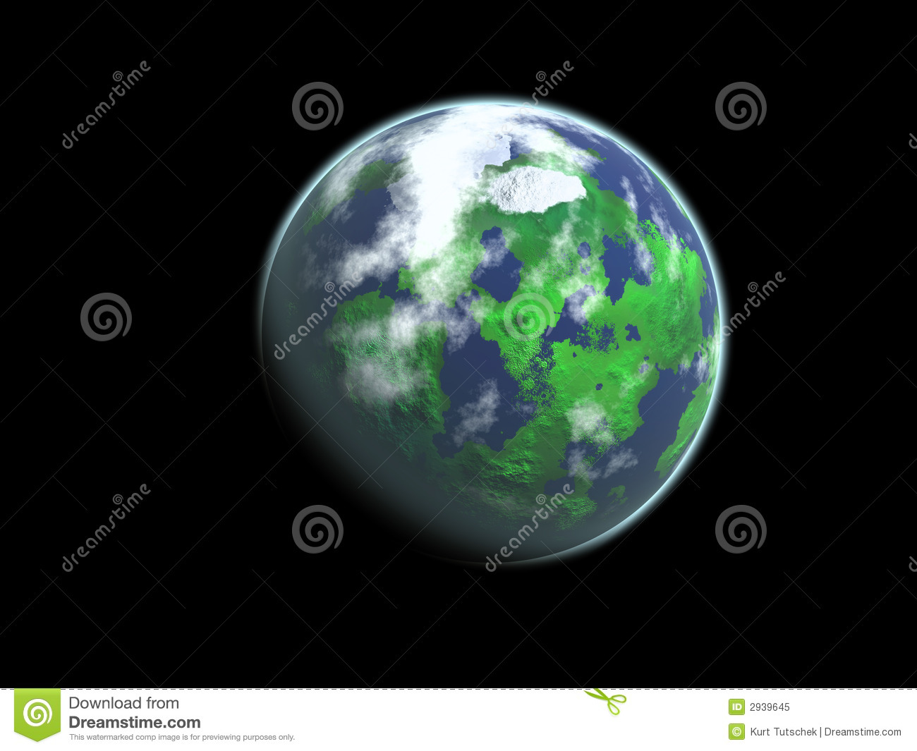 Green planet with clouds, land and water against black background.