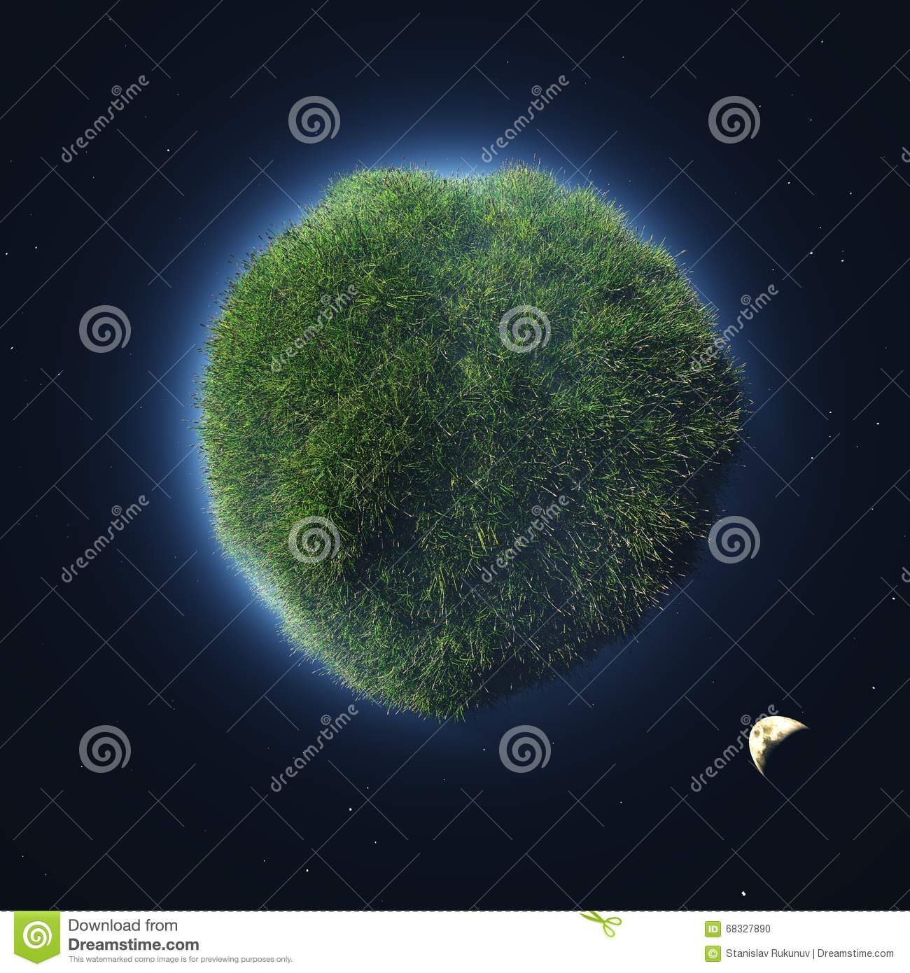 Green planet in outer space