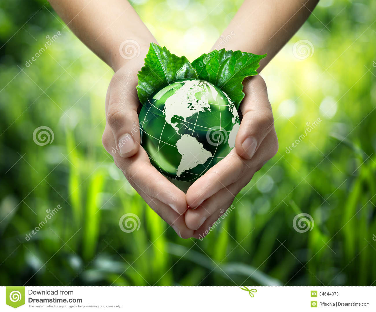 Green Planet In Your Heart Hands Usa Stock Image Image Of