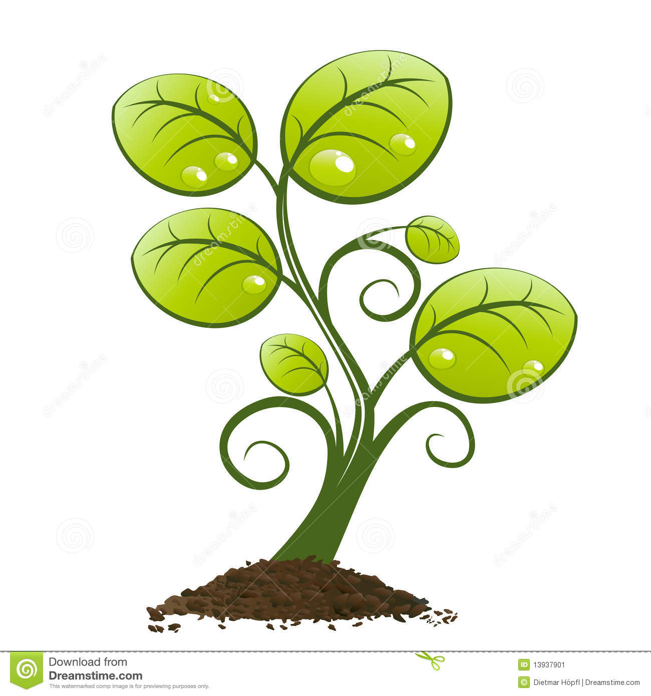 Decorative illustration of green plant growing from pile of earth or ...