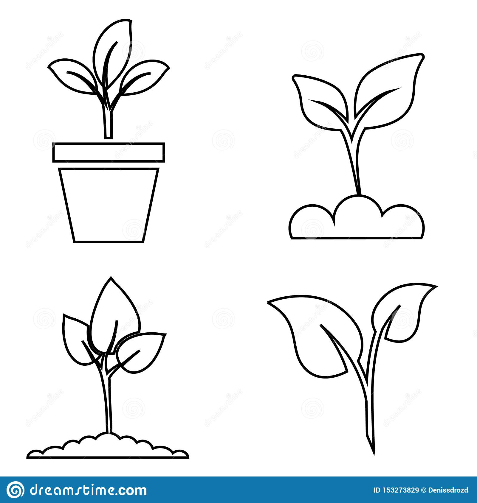 Green plant and leave color icons set vector. Green plant vector icon illustration.