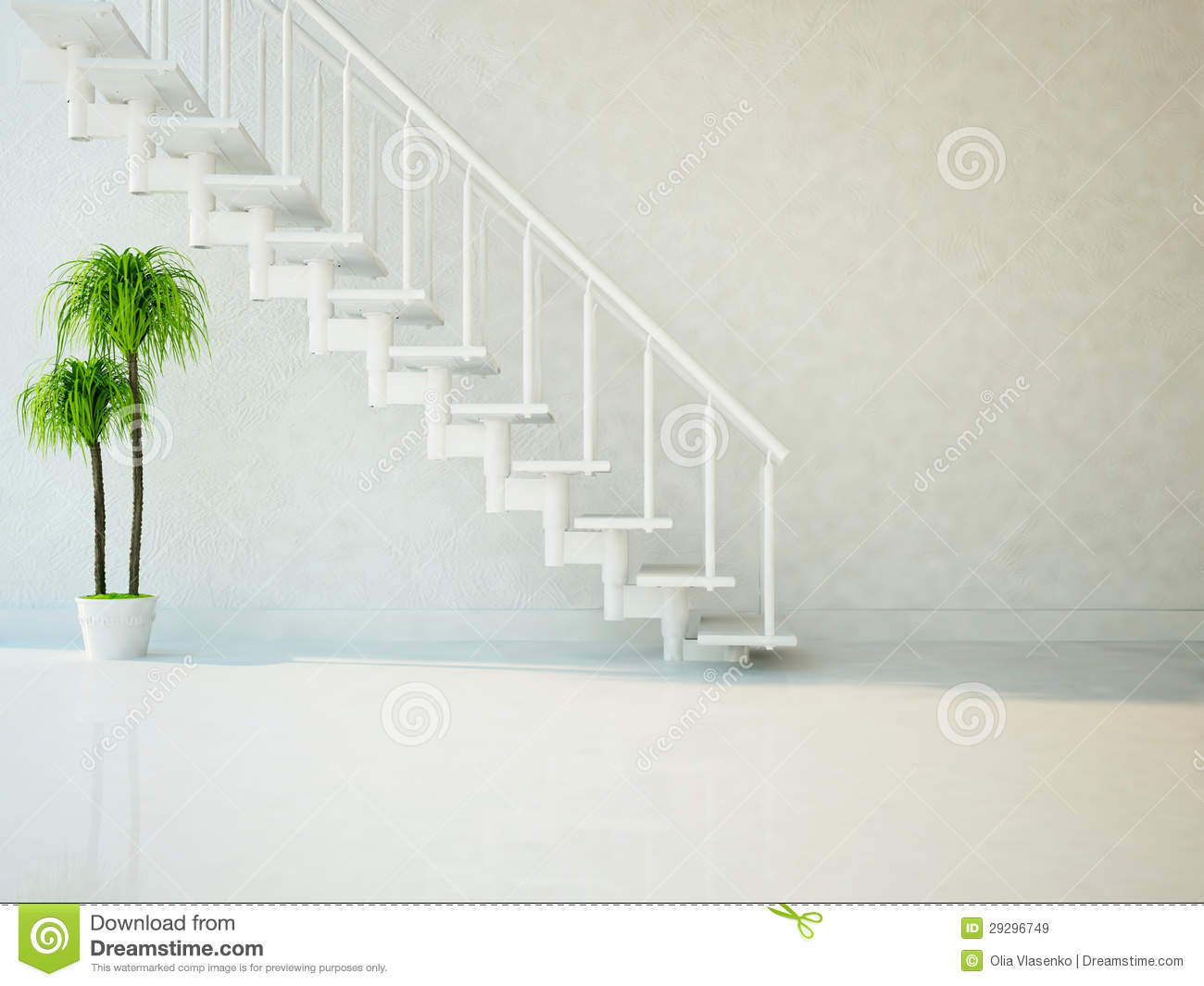Green Plant Under The Stairs Stock Illustration Illustration Of