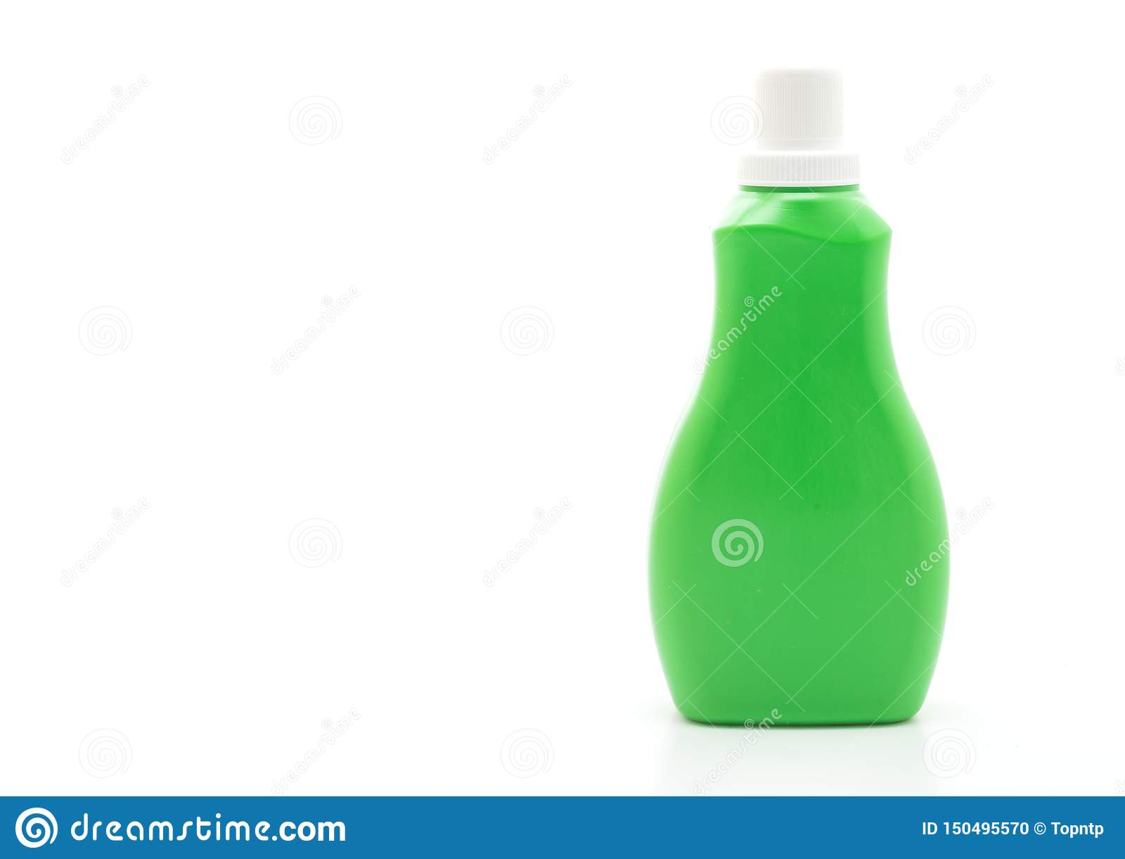 green plastic bottle for detergent or floor liquid cleaning on white background